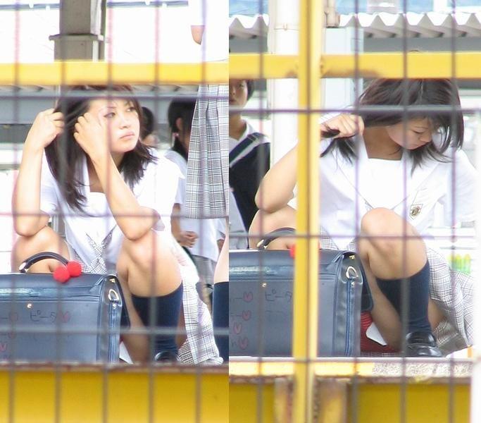 【JKパンチラ盗撮エロ画像】盗撮されてることに全く気づかない女子高生の天然パンチラが超興奮するwwww その11