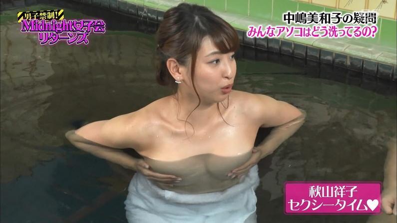 【TVお宝エロ画像】これはガチのハプニングか!?乳首がみえちゃうこともある温泉リポートが完全に放送事故www その6