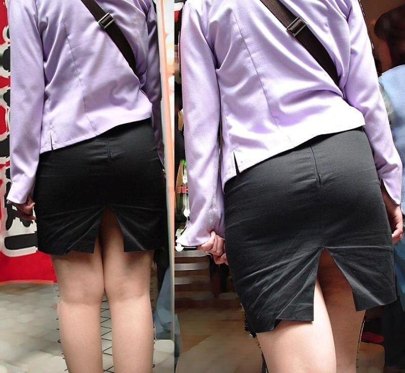 【パンチラエロ画像】スカートのスリットからチラチラッ!プライベートな下着を見せながら歩く痴女のパンチラ画像 その6